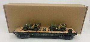 Menards 279-3380 O Army Flatcar w/ Two Jeeps #10148 LN/Box