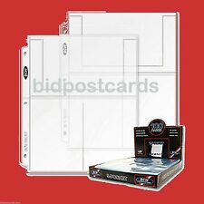 100 BCW 3-Pocket Archival Display Pages for 4x6 Postcards & Photos~Refill Albums