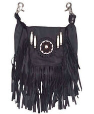 Genuine Leather Belt Bag - Hip Purse - Black Fringe Beaded Design / Motorcycle