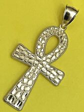 """BIG ANKH SOLID 10K yellow gold Nugget pendant Egyptian Cross  2.25"""" 4.9g"""