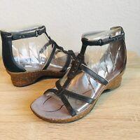 Womens Ahnu Alta Bossa Nova Black Leather Wedge Sandals Size 6