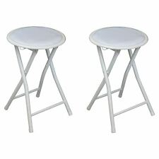 Round Folding Padded Stool. Office Kitchen Breakfast Stool -Metal Frame White x2