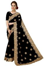 Sari Indian Ethnic Designer Net Embroidery Saree for Wedding Party wear (K770)