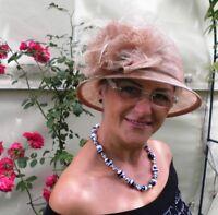 Damenhut Anlasshut in Beige Hochzeit  Damenhüte Anlasshüte Strohhüte   Ascot