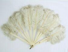 Vtg Antique Hand Held Fan Celluloid Sticks Ostrich Feathers
