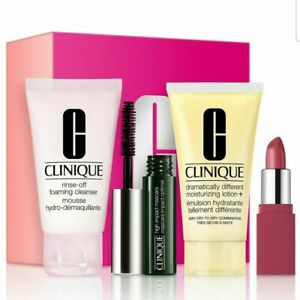 Macys Clinique 4 pc. Discovery Set  cleanser, moisturizer, mascara and lip color