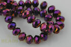 50pcs 8X6mm Rondelle Faceted Crystal Glass Loose Spacer Beads Purple Plated