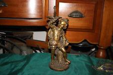 Antique Victorian Decorative Boy Bronze Brass Light Fixture Lamp Base