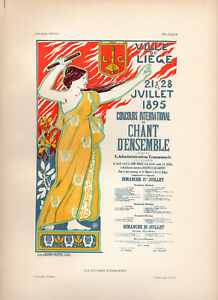 """A. DONNAY Affiches Etrangeres 1897 Stone Litho Poster: """"LIEGE SINGING CONTEST"""""""