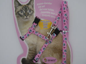 (H036) Cat Kitten Adjustable Harness & Lead Set Pink with Owl Pattern