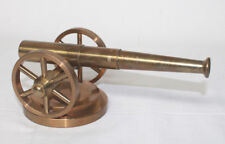 """Vintage Desk Top Model Brass Cannon Wooden Base 8 1/2"""" long Paper weight"""