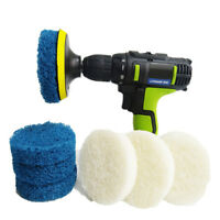 Power Scrubber Drill Plate Brushes Cleaning Sofa Bathroom Tile Grout Waxing Kits