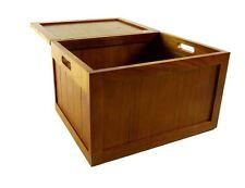 Brown Wooden Lidded LINNED Bedroom Bathroom Storage Washing Laundry Basket Chest