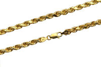 14k Yellow Gold Italian Rope Chain Twist Link Necklace 4mm Mens Women Sz 22""