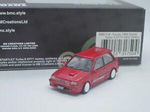 Toyota Starlet Turbo-S EP71 Hatchback 1988 red 1/64 BM Creations Car + Wheels