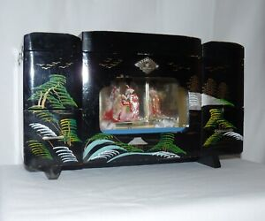 Japanese Lacquer Hand Painted Lighted Musical Jewelry Box Geisha Theme