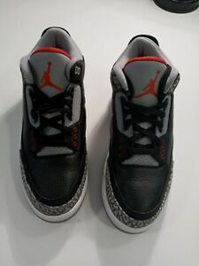 Nike Air Jordan 3 III Retro Black Cement Grey Red White Sz 8 / 854262-001