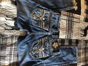 Men's Rock Revival 30x32 TY - Straight Jeans Dark Wash fleur flap