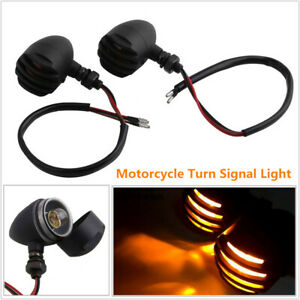 2PCS Motorcycle Scooter Turn Signal Lights Retro Small Metal Fence Lamps Amber