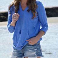 NEW J. Jill M XL Tab-sleeve Knit Hoodie 3/4 Sleeve L/S 100% Cotton Blue
