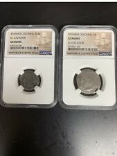 Two Coin Set  El Cazador Shipwreck Spanish Colonial 1 Real/2 Real  NGC Genuine