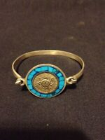 """Rare Vintage Mexico 925 Sterling Silver Hinged 7"""" Bracelet w Turquoise Chips"""