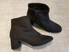 Primark size 8 (41) black faux suede side zip block heel ankle boots
