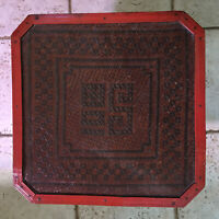 Antique Chinese Wedding Basket Bamboo Rattan Square Red Box W/ Characters