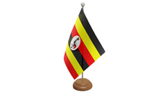 Uganda Table Flag with Wooden Stand