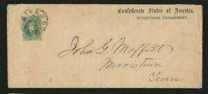 Confederate States #1 Subsistence Department (WD-SD-03 cat $350) cover to Tenn
