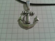 """TIBETAN SILVER ANCHOR+CHAIN PENDANT ON 18/20""""LEATHER NECKLACE+POUCH"""