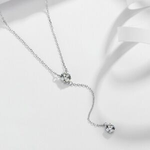 925 Sterling Silver Crystal Necklace Chain Choker Sexy Tassel Pendant Necklace