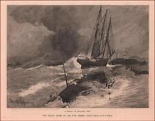 ATLANTIC CITY, NEW JERSEY STORM, SHIP WRECK of ROBERT MORGAN, antique 1884