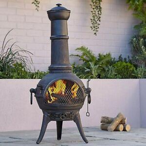 Large Cast Iron Chimenea: Etinas (Log Burner Chimenea Patio Heater Chiminea Tall