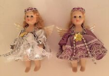 """VINTAGE Lot Of 2 Porcelain Angel DOLLS Small 4"""" With Wings Doll"""