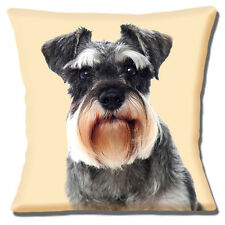 German Schnauzer Dog Cushion Cover 16x16 40cm Photo Print on Cream Unique Gift