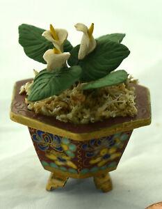 Vtg Dollhouse Miniature Cloisonne Planter Peace Lily Flower Plant Arrangement
