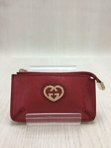 GUCCI Unisex Leather Coin Case Red GG Heart Used Condition Authentic n100