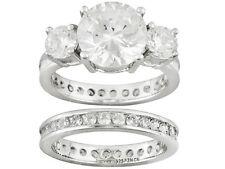 NEW JTV Bella Luce 6.06ctw Round Rhodium Pltd Sterling Silver Ring W/ Band SZ 10