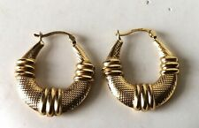 9ct gold fully hallmarked Chunky Creole Earrings 375