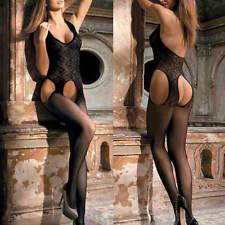 Sexy Women Fishnet Sheer Open Crotch Babydoll Stocking Bodysuit Lingerie UK 6-16