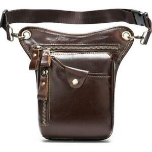 Genuine Leather Men Fanny Pack Waist Bag Drop Leg Bag Waist Belt Thigh Pack