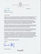 James M. Flaherty, Canada's Federal  Minister of Finance, signed letter re Oil