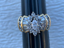 MARQUISE CUT NATURAL  DIAMOND SOLID 14K YELLOW GOLD CLUSTER RING