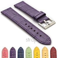 StrapsCo Croc Embossed Flat Leather Watch Band Men Womens Ladies Crocodile Strap