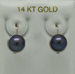 GENUINE TAHITIAN PEARLS DANGLING EARRINGS 14K GOLD * New With Tag * Made in USA
