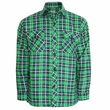 Mens Long Sleeve Casual Check Print Smart Cotton Work Flannel Shirt M-xxl Green Navy - Euro L