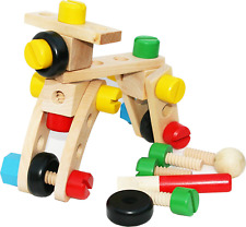 TOWO Wooden Nuts and Bolts set Building Blocks Construction Kit 30 Pieces with a