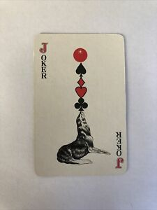 Balancing Seal Joker Card, Plastic Coated, Vintage