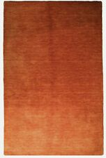 Solid Rust Automn Tone Hand-Knotted 5x8 Red Modern Wool Rug